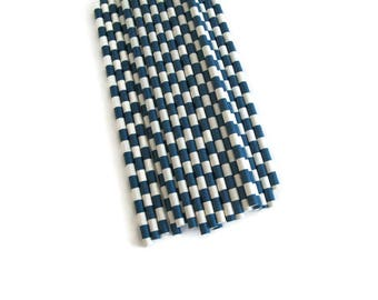 Navy Stripe Paper Straws 25 Count | Navy Sailor Stripe Paper Straws | Navy Horizontal Stripe Paper Straws | Navy Striped Paper Straws