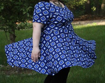 Plus Size Tribal Print Dress, Blue Tribal Print Plus Size Dress, Casual Plus Size Dress, Summer Plus Size Dress, Women's Dress