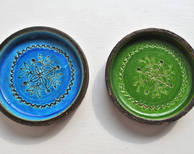 Aldo Londi Bitossi Rimini Blue & Green Dishes / Ashtrays Italian Vintage 1960's