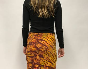 Orange and Red Tie Dye High Waisted Stretchy Bodycon Skirt
