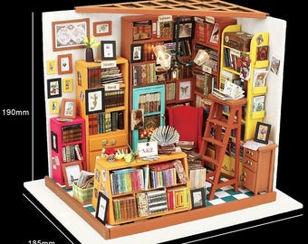 Bookshop with Light * DIY Handcraft Miniature Project * Dollhouse making kit * Dollhouse Kit* Birthday Gift * 1:24 miniature dollhouse