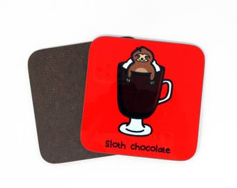 Sloth chocolate coaster, sloth coaster, sloth place mat, hot chocolate coaster, place mat, mat, home and living, gift for her, gift for him