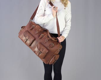 The Vagabond Duffel: vintage style brown leather holdall duffle gym weekend bag luggage unisex womens personalized flight carry on cabin