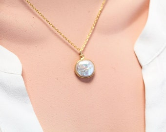 Mother-of-Pearl Necklace, 14k GOLD FILLED CHAIN, 3D-Same Look On Both Sides