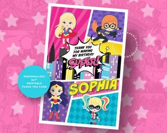 Superhero Girl Thank you Card. Superhero Girls. Supergirl Invitation. Girl Superhero. Superhero Girl Party. Superhero Girl Birthday.