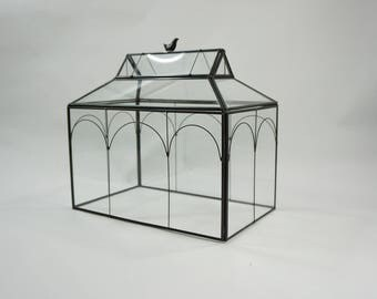 Indoor Greenhouse Cover, Tabletop Glass Greenhouse Cover, Planter, Terrarium, Glass Roof House, Mini Greenhouse, Metal Glass Bird on Top