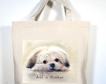 Shih Tzu Tote, Personalized Shih Tzu Canvas Bag, Shih Tzu Grocery Bag, Custom Shih Tzu Gift