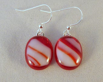 Burgundy Red and White Fused Glass Dangle Earrings, Fused Glass, Fused Glass Earrings, Glass Earrings, Dangle Earrings, Burgundy, Red, White