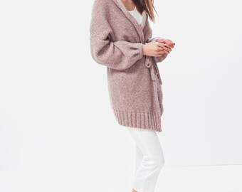 Coocoon cardigan / Alpaca cardigan / Wool cardigan / Dusty pink cardigan / Loose cardigan / Chunky knit / Oversize sweater / Ora cardigan