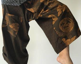 SR0040 Samurai pants with Unique Hilltribe fabric Wrap Around