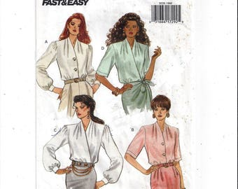 Butterick 3028 Pattern for Misses' Blouse in 4 Styles, Size 6 8 10, From 1993, Vintage Home Fashion Sewing, Fast & Easy, Loose Fitting