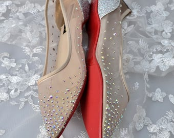 Swarovski Crystal Mesh See through Silver Glitter Bridal Flat Ballerina Pointed Luxury Nude Red Sole Pump