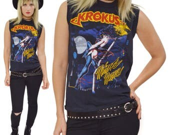 Vintage 80s Krokus Midnite Maniac Blitz Tour '84-'85 Sleeveless Muscle Tank T Shirt Sz L