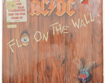 Vintage 80s AC/DC Fly On the Wall Hard Rock Album Record Vinyl LP