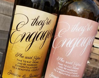 Gold or Rose Gold, Classy Engagement Wine Label // Newly Engaged Couple Gift // Engagement Gift // Congratulations