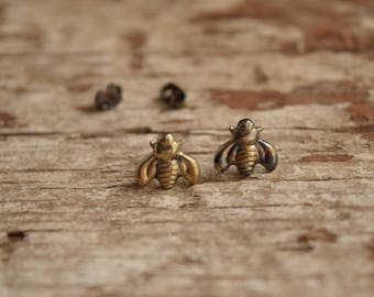 Bumblebee earrings - bee stud earrings - stamped silver earrings - sterling silver bumble bee earings - Pollinator Insect - honey bee