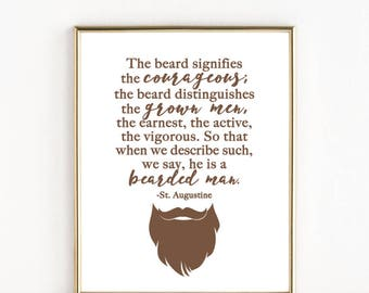 Bearded Man Quote by St. Augustine | Catholic Man Art | 8x10  or 5x7 Print