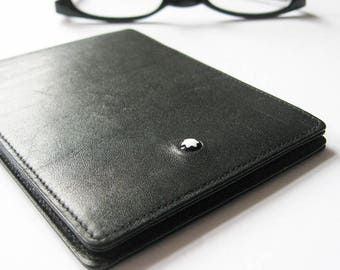 Montblanc Meisterstück - Vintage Black Leather Wallet with Notepad - Pocket Size Notebook Stationery Supplies - Black and White Mens Fashion