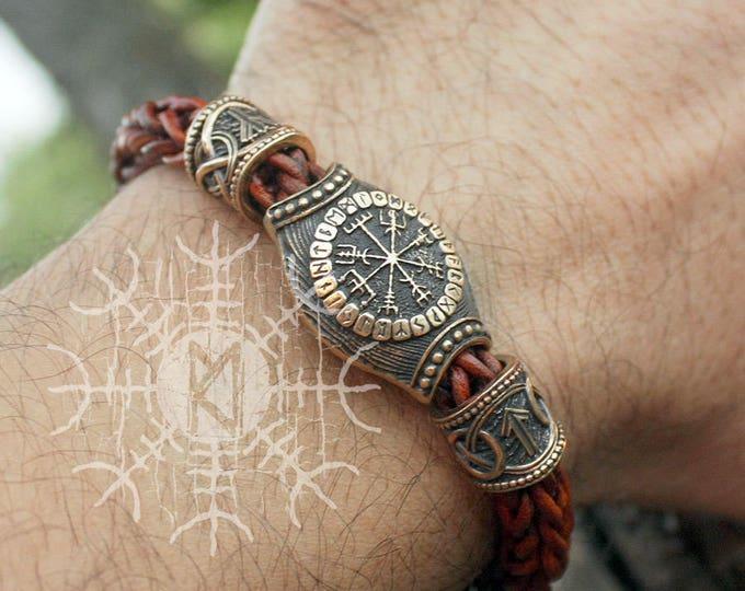 Bronze Vegvisir Aegishjalmur Futhark Runes Beads Wolf Heads Braided Brown Genuine Leather Bracelet WHB9brn