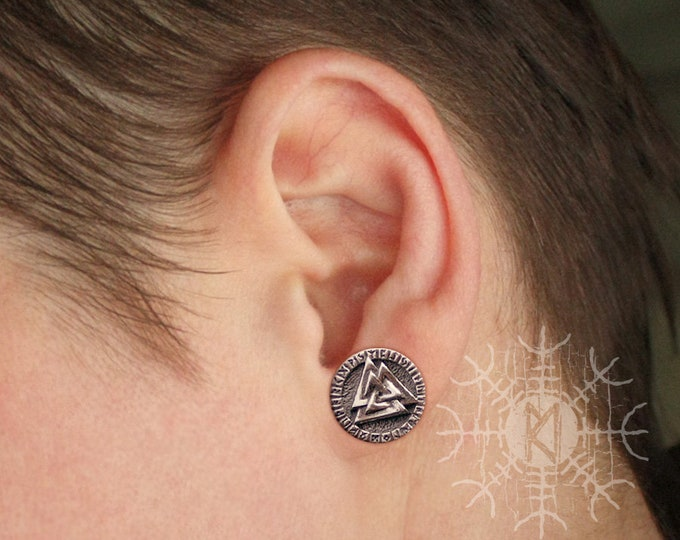 NEW ITEM! ~ Silver Valknut Futhark Runes Odin Nordic Amulet Earrings