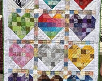 Scrappy hearts baby quilt