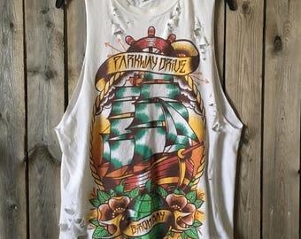 Parkway Drive distressed t shirt, grunge, metalcore, thrash metal, t shirt size medium