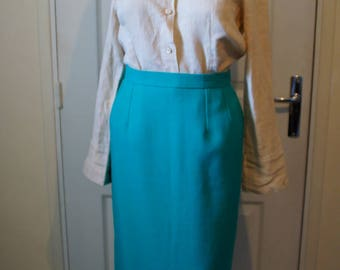 Skirt right green elastic waist vintage woman.  1940s style