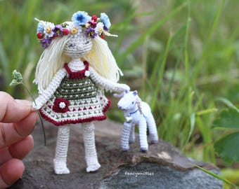 "Crochet summer miniature doll village girl with goat cub blond long hair wild flowers wreath 4"" collectable amigurumi fancy cute home decore"
