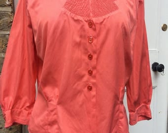 1950s nipped in waist blouse coral coloured very