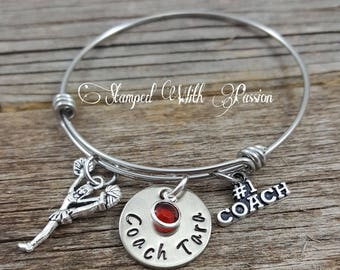 Cheer Coach, Cheer Bracelet, Cheerleading Jewelry, Personalized Gift, Gift for Coach, Cheerleader Bracelet, Cheer jewelry