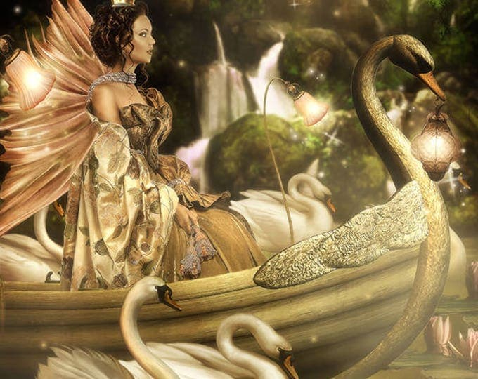 fantasy fairy boat and swans art print