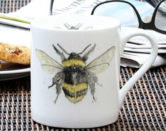 Bee Mug - Bee Gift, Fine Bone China, Country Kitchen, Woodland Theme, Gift for Her, Christmas Gift, New Home Gift