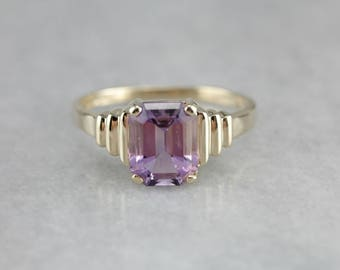 Amethyst Solitaire Ring, Right Hand Ring, February Birthstone, Purple Stone Ring 80ZD7PW9-P