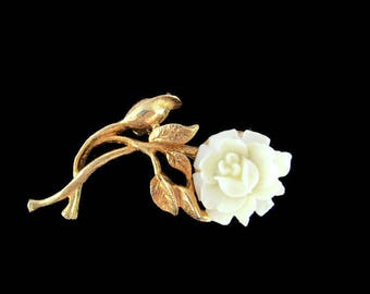 Cabbage Rose  Pin/ Carved Lucite Flower Brooch /Cream Plastic Goldtone Scatter Pin/Ivory colored Plastic Rose Pin