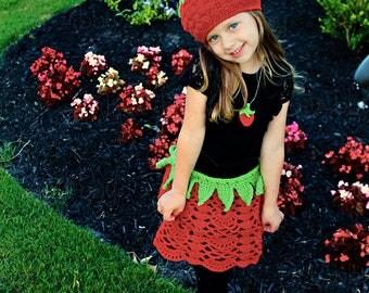 Crochet Strawberry Hat, Skirt & Pendant Outfit Pattern (PDF FILE)