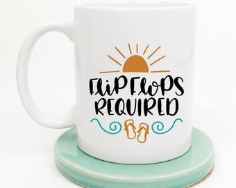 Flip Flops Mug, Beach Lover Mug, Mothers Day Mug, Beach Bum, Ocean Mug, Gift for Her, Friend Gift, Gift under 20, BFF, Moms Birthday