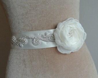 ON SALE Ivory  Bridal Sash, Wedding Gown Sash, Bridal Belt, Flower Sash,Pearl Crystal Sash,Ivory Wedding, Bridal Sash, UK-  Connie