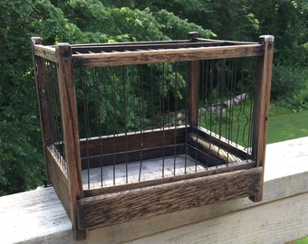 Small Wood Wire Birdcage for Ornithologist Bird Watcher Bird Cage