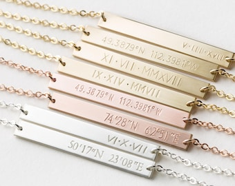 Coordinates or Roman Numerals Bracelet, Custom Personalized • 14k Gold Filled, Rose or Sterling Silver • the Perfect Bar Bracelet, LB140_35