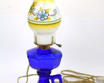 Cobalt Blue Lamp with Hurricane Shade. Vintage Glass Accent Lamp with Finger Ring