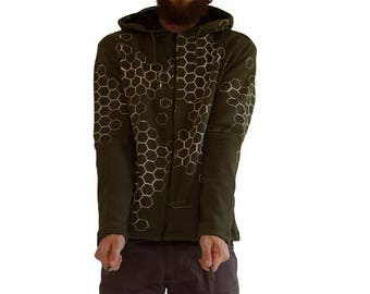 Festival Cotton Hoodie - Mens Clothing Trance - Psychedelic Clothing - Hippie Hoodie - Psy Trance Goa - Trance Hoodie - 3D Hexagon Hoodie