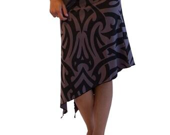 Tribal Clothing - Rave Clothing - Long Skirt - Festival Skirt - Cotton Stretch Skirt - Printed Skirt - Pixie Fairy FP Tribal Skirt - Modern