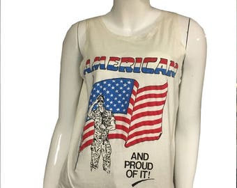 """Sale! Vintage """"American and Proud of IT"""" Tank"""