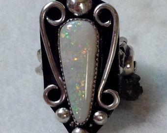 Australian Opal Ring, Size 7 1/2, Sterling Silver