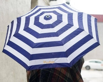 Personalized Umbrella: Navy Stripes -Pick your Thread Colors/Fonts