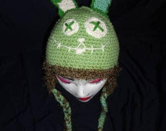 Hand Crocheted Zombie Bunny Hat with Ear Flaps and Braids