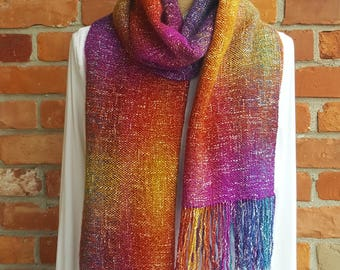 Shawl, Wrap, Scarf, Hand Woven, Yellow, Orange, Red, Pink, Blue, Purple