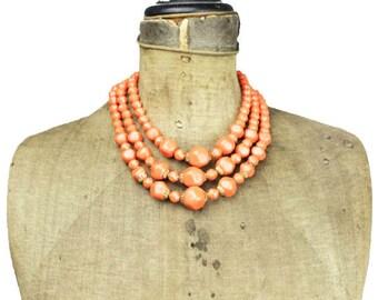 Vintage Orange Bead Necklace, Orange Triple Strand Necklace, Orange and Gold Necklace, Chunky Orange Necklace, Long Orange Necklace