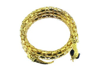 Gold Mesh Snake Bracelet with Rhinestones, Gold Snake Bracelet, Gold Snake Wrap Bracelet, Gold and Black Snake Bracelet