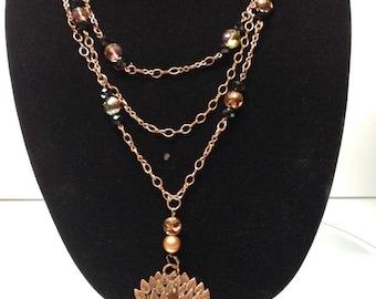 Copper Tree Three Strand necklace